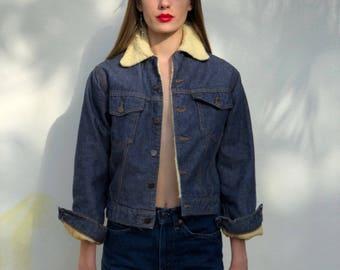 1970's Denim Jacket / Shearling Lined / Dark Wash Denim Jean Jacket / Lightweight Coat / Lined Denim Jacket / Sears Roebucks Jacket