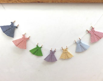 garland, paper, origami, japanese, dresses, multicolored; graphic, daughter room