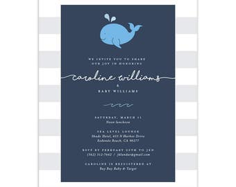Whale | Nautical Baby Shower Invitations