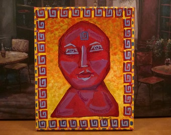 Goddess Art / Abstract Portrait / Cubism Smiling Woman / Iconic Portrait / Original Painting / Ready to Hang / Lagniappe Collection