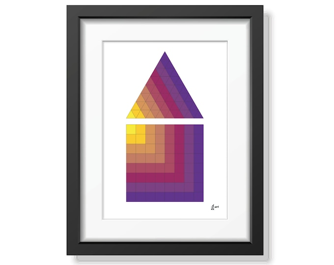 Triangle and square 01 [mathematical abstract art print, unframed] A4/A3 sizes