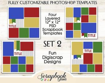 "Digital Scrapbook Layered Photo Templates, 12"" x 12"", PSD Format digiscrap photoshop collage editable customizable"