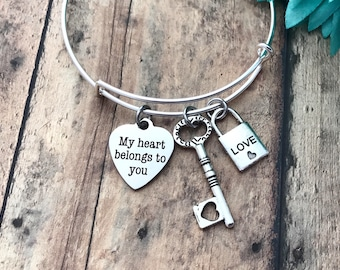 Valentine's Day gift my heart belongs to you. Silver adjustable Bangle,stackable bangles love gift, special someone, be my valentine,