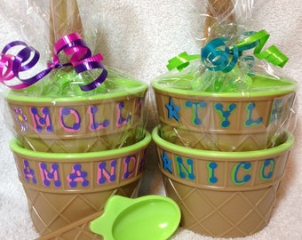 "GREEN Personalized Ice Cream Dish / Party Favor / Kid's Personalized Ice Cream Cup with Spoon / 4"" wide x 2.5"" tall / Ice Cream Dish"