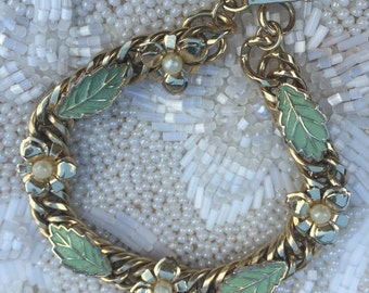 Vintage Judy Lee Floral Leaf Bracelet,  Estate Jewelry