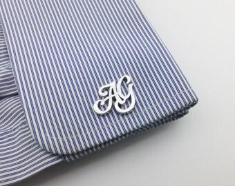 Initial Cufflink Personalized Cufflinks - Groom Wedding Cufflinks -Letters Cufflinks -Men Cufflinks - Initials Cufflinks - father's day gift