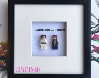 LEGO Star Wars Frame | Personalised • Love • Hans • Leia • I Love You, I Know • Anniversary • Wedding