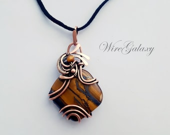 Tiger Eye Pendant Wire Wrapped Copper Necklace 7th Anniversary Gift Protection Amulet Copper Medallion Art Nouveau Gold Tiger Eye Talisman