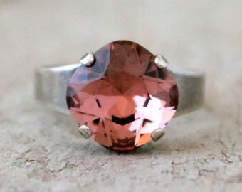 Blushing Rose   Swarovski Crystal   Adjustable   Antique Silver   Square Cushion   Rose Blush Jewelry   Wedding Jewelry   Gift For Her