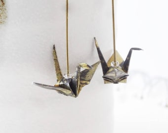 Earrings origami crane black, white and gold, folded japanese paper