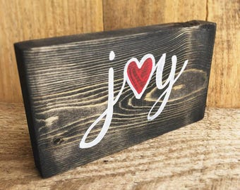 Joy Hand-Painted Wood One-Word Sign
