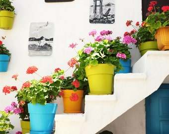 """Colorful Greece art photography white large wall art rainbow colors potted plants print  """"Colorful Pots"""""""