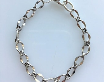 "Sterling Silver ""Dapped"" Link Bracelet - Small Wrist or Girls Sterling Silver Link Chain Bracelet"