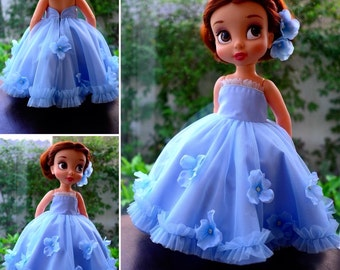 flower princess dress (sky blue)/ doll clothes for Disney animator doll 16""