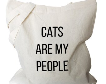 Cat Tote Bag - Cats are my people Grocery Totes - Cat Quote Totes (b701)