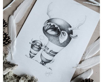 PRINT Fine ART Drawing Illustration Pencil Drawing Graphite Nursery Home DECORATION Postcard Kawaii - A Mothers Patience