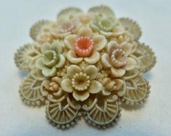 Vintage 1930-40s Japan celluloid flower brooch