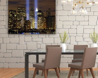 "New York City Ground Zero Tribute In Light Canvas Print / Twin Towers Never Forget / September 11th / 9/11 / 9-11 / 18"" x 24"" or 30"" x 40"""