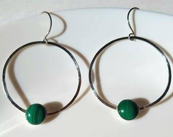 Sterling silver malachite hoop earrings