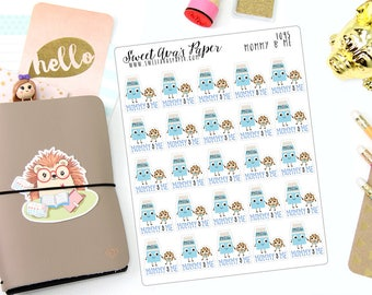 Mommy and Me Planner Stickers - Milk and Cookies Planner Stickers - Mom Planner Stickers - Baby Planner Stickers - Kid Stickers - 1095