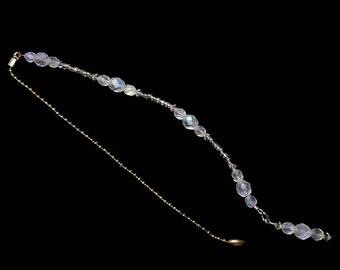 White Opal AB Crystal Beaded Fan Pull Brass Chain