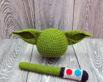 Baby Yoda Hat and Lightsaber, Star Wars inspired costume, Star Wars costume, Baby Star Wars, Yoda Baby Costume, Star Wars photography props