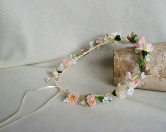 Wedding Accessories Flower Crown Ivory pink blush flower girl Halo Baby Infant headband Bridal party Toddler Photo Prop