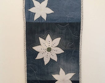 Quilted handmade table runner. Denim and flowers. Homemade gifts. Table decor.