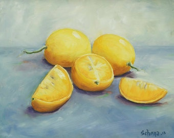 "8x10 Giclee Archival Print by artist Laurie Schena - ""California Lemons"""
