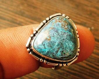 Chrysocolla Ring, Statement Stone Ring, Turquoise Blue Gemstone Ring, Sterling Silver Bezel Ring, Artisan Ring, chrysocolla ring,(R-25)