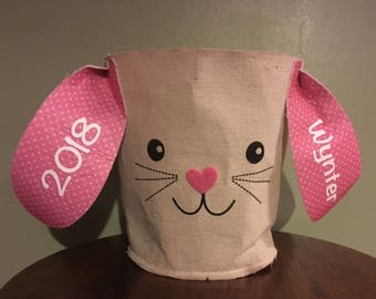 Personalized easter bunny basket/ cloth burlap bucket with ears/ monogrammed bunny