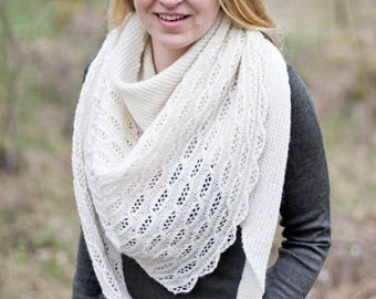 Genome - lace shawl with DNA theme | cables wool yarn ull spets sideways helix