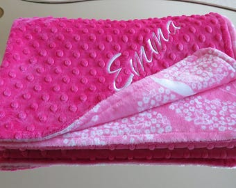Baby Girl  Blanket, Personalized baby Girl Blanket,  Pink  Baby Girl Blanket, Minky  Baby Gift, Baby Shower Gift, Minky Baby Girl Blankets,