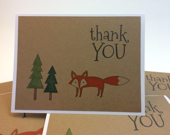 Set of 6 handmade hand stamped thank you cards notes forest fox