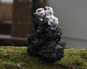 Three friends (þrír vinir).   Sculpture on lava stone ,one of a kind,handmade,nature decor,home decor