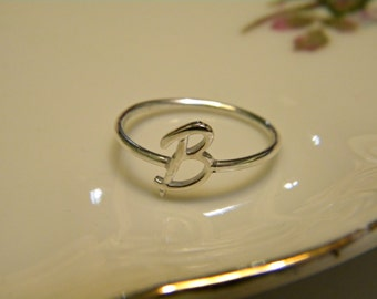 Handcrafted Silver Letter B Ring.