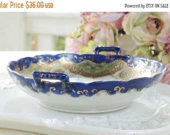 ON SALE Gorgeous Antique Asian Scalloped Gold Gilt Candy Dish, Hand Painted, French Shabby Chic, Cottage Style