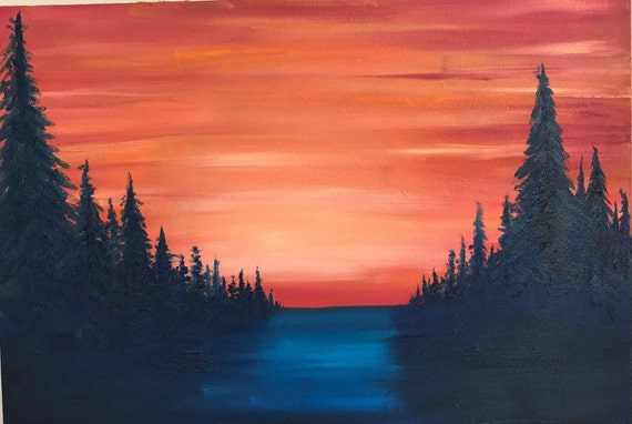 Mountain Art Oil Painting Sunset And