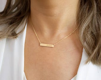 Bar Necklace, Name Necklace, Name Plate Necklace, Engravable Necklace, Silver, Gold, Rose gold • NBH31x51