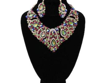 Green Multi Color Crystal Bib Necklace Set