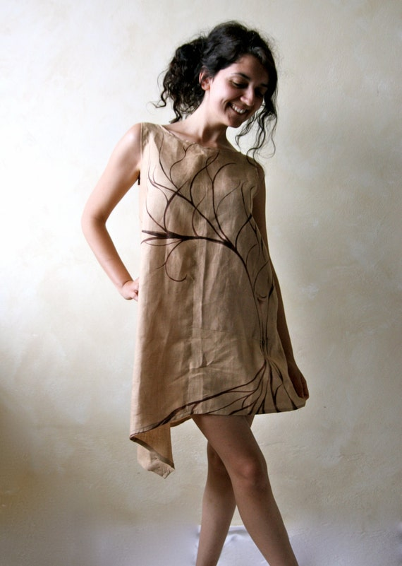Very best Linen tunic asymmetrical dress Linen dress Pixie dress KY92
