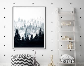 Black and White Watercolor Forrest Poster, Digital Print