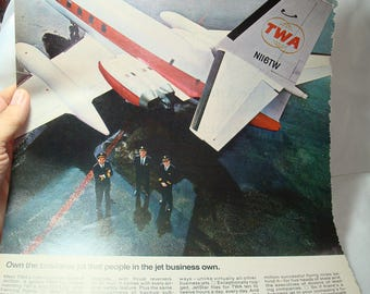 1968 TWA Lockheed Dash 8 Jetstar Jet Airplane Ad.