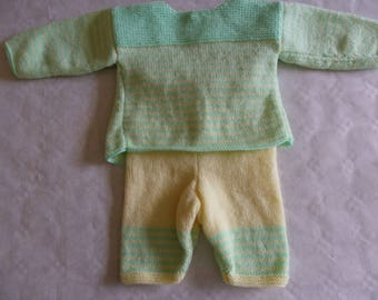 Bra with yellow and green stripes and matching 3 months baby girl or baby boy pants