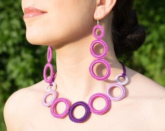 Fashion crochet necklace - Fiber necklace - modern crochet necklace cotton - cyclamen color - very light