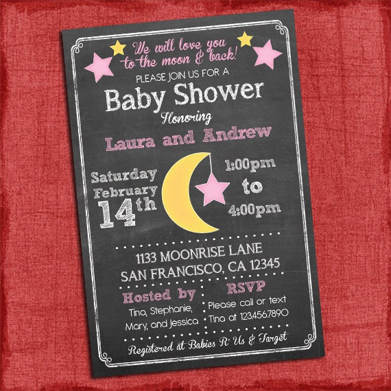 Printable moon stars theme baby shower invitation baby filmwisefo