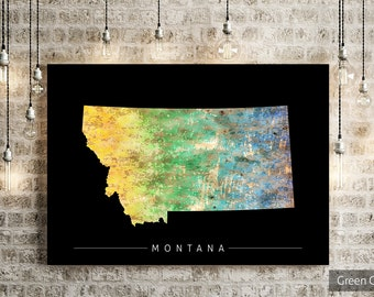Montana Map - State Map of Montana - Art Print Watercolor Illustration Wall Art Home Decor Gift - SUNSET PRINT
