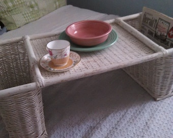 Vintage Shabby Chic Rattan Bed Serving Tray