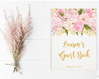 Baby Shower Guest Book, Baby Shower Guestbook, Guest Sign In, Baby Sprinkle, Girl Baby Shower Ideas, Baby Shower Items, Notebook, Pink Gold