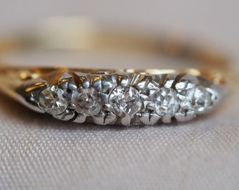 Delicate and romantic vintage 18K yellow and white gold Old cut Diamond row ring